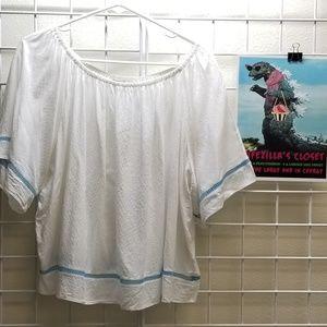 Ariat White Boho Peasant Blouse. Size XL